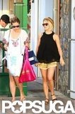 Julianne Hough wore short gold shorts in St. Barts.