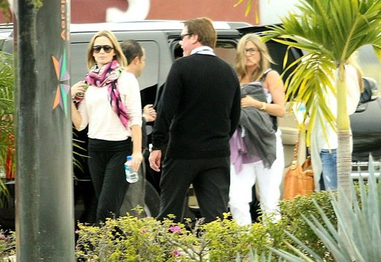 Emily Blunt and Jennifer Aniston prepared to leave Cabo.