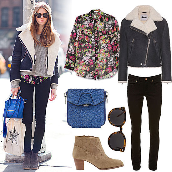 Style your shearling with a floral shirt and blue crossbody bag for a street-style-worthy weekend look.