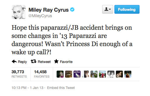 Miley Cyrus says enough is enough when it comes to paparazzi chases.