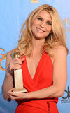 Claire Danes posed with her award for best actress in a TV series, drama, in the press room.