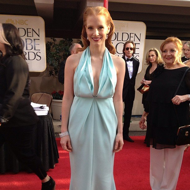 Jessica Chastain wowed in a seafoam green Calvin Klein dress. Source: Instagram user goldenglobes