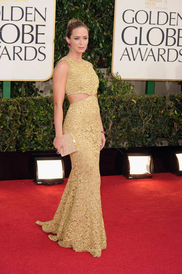 Emily Blunt wore a cutout gown at the Golden Globes.