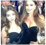Sofia Vergara and Sarah Hyland posed together in their black gowns at the Golden Globes. Source: Sofia Vergara on WhoSay