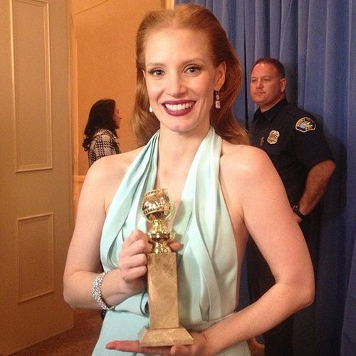 Jessica Chastain celebrated her best actress win at the Golden Globes. Source: Instagram user goldenglobes