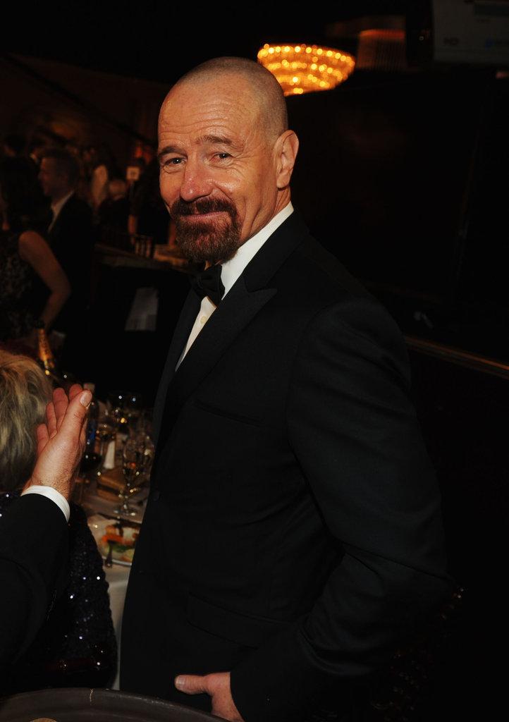 Bryan Cranston smiled inside at the Golden Globes.