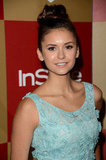 Nina Dobrev wore an updo to the soiree.