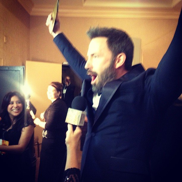Ben Affleck cheered while celebrating his Golden Globe wins. Source: Instagram user goldenglobes