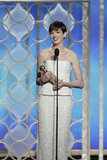 Anne Hathaway teared up while accepting the best supporting actress award.