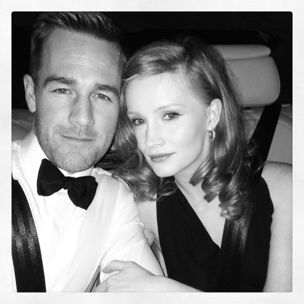 James Van Der Beek and his wife headed to the Golden Globes afterparty. Source: Twitter user vanderjames