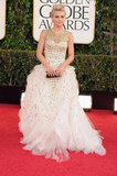 Julianne Hough wore Monique Lhuillier at the Golden Globes.