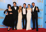The cast of Les Misérables hit the Golden Globes press room together after their best picture win.