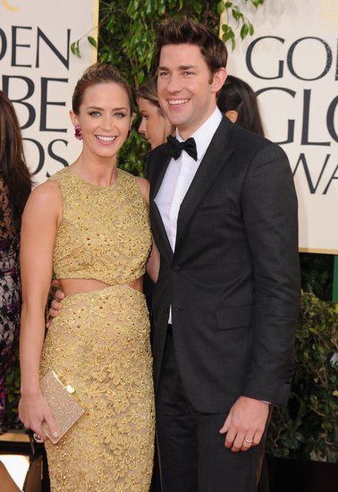 Emily Blunt and John Krasinski posed together at the Golden Globes.