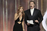 Kristen Wiig and Will Ferrell joked around while presenting at the Golden Globes.