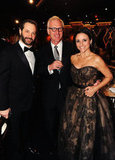 Julia Louis-Dreyfus, Brad Hall, and Judd Apatow were all smiles durning the Golden Globes.