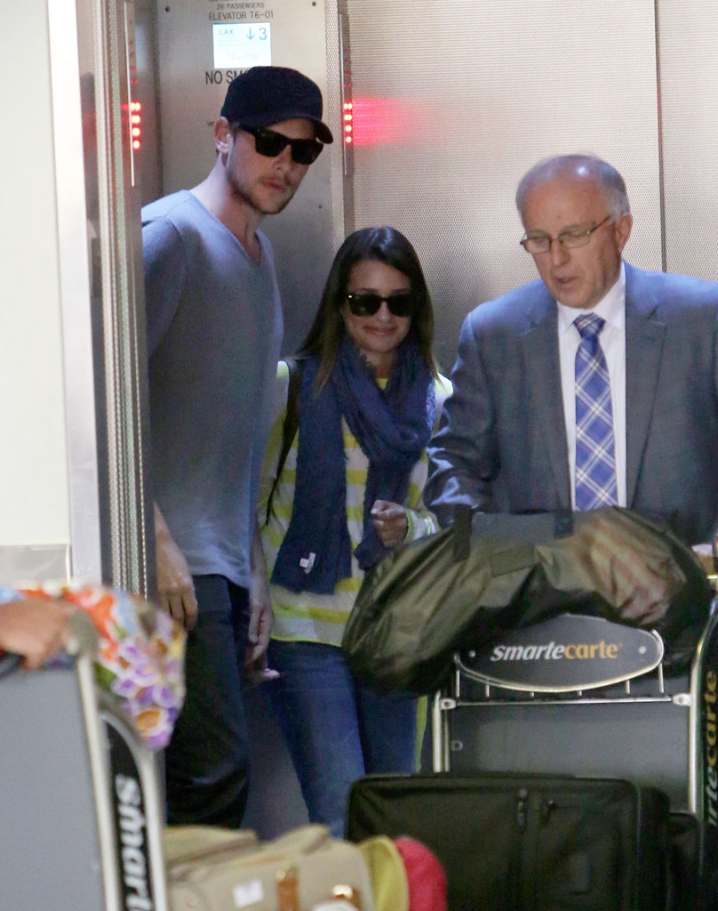 Lea Michele and Cory Monteith took an elevator at LAX together.