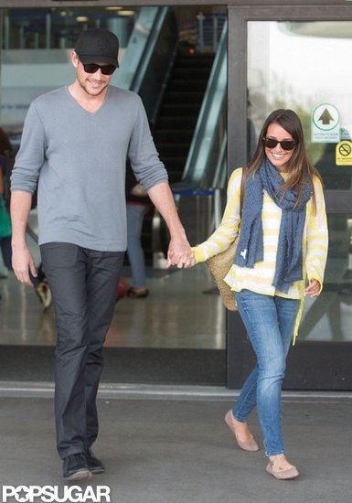 Lea Michele and Cory Monteith smiled as they headed home from LAX.