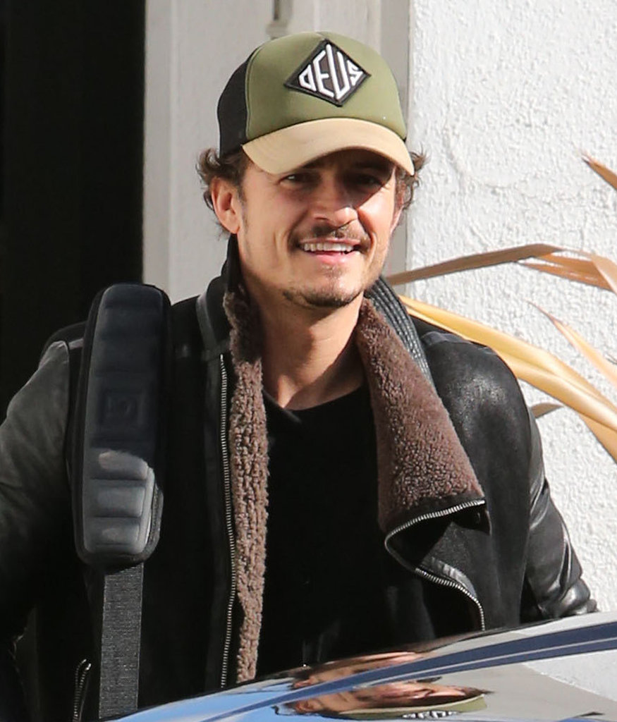 Orlando Bloom had a smile on his face as he headed out of town.