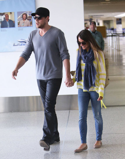 Lea Michele and Cory Monteith were all smiles at LAX.