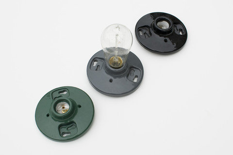 These industrial light sockets ($45) are the perfect foil for low wattage or Edison bulbs.