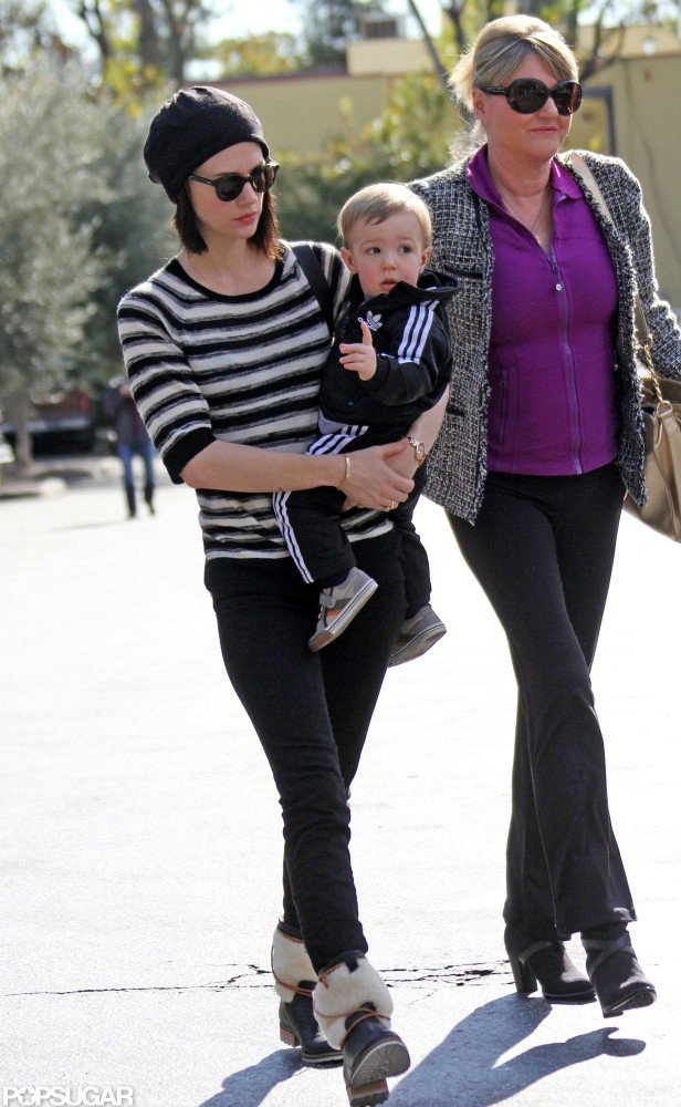 January Jones brought Xander along for an outing with her mom, Karen, in LA.