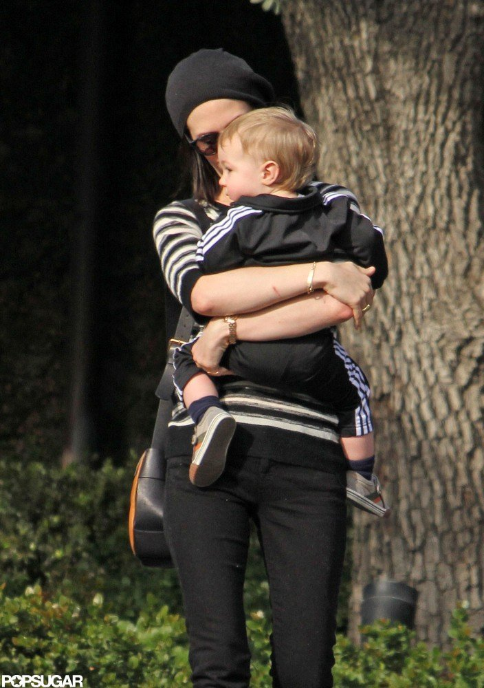 January Jones cuddled up to Xander in LA.