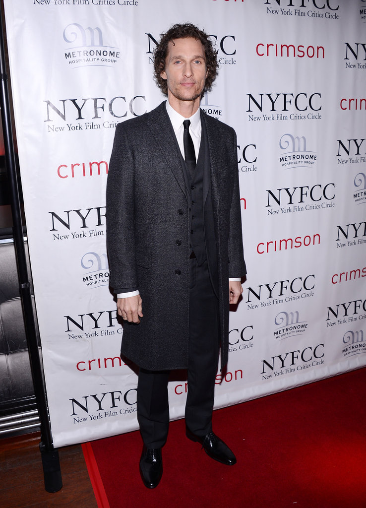 Matthew McConaughey wore a suit and an overcoat.