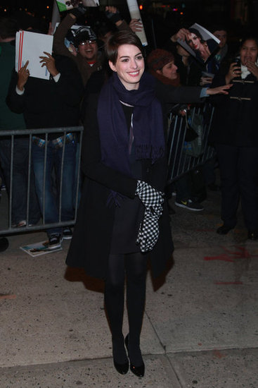Anne Hathaway posed for cameras in NYC.