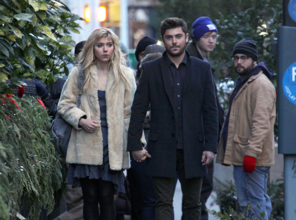 Zac Efron and Imogen Poots filmed a scene for their new movie.