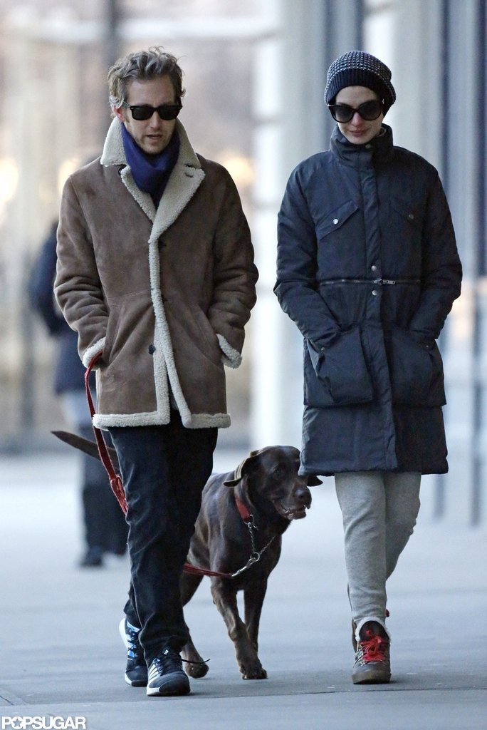 Anne Hathaway and Adam Shulman had an outing in NYC with their dog.