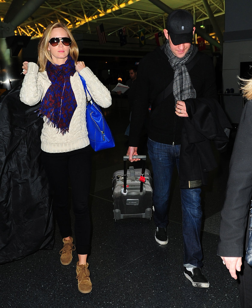John Krasinski and Emily Blunt landed in JFK.