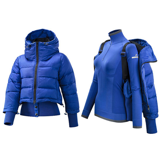 """This Adidas by Stella McCartney Wintersports Performance Padded Jacket ($280, originally $350) features a  thinner """"second layer"""" complete with fun and functional straps."""