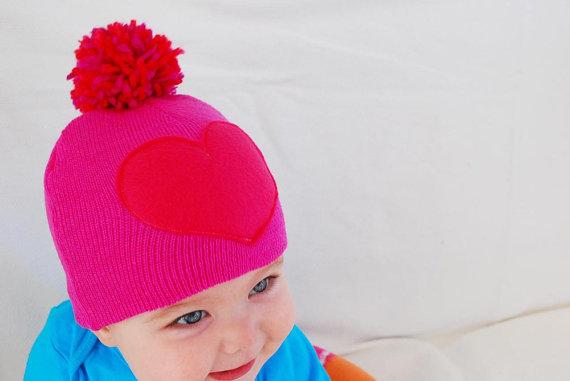 Baby Pom-Pom Heart Hat