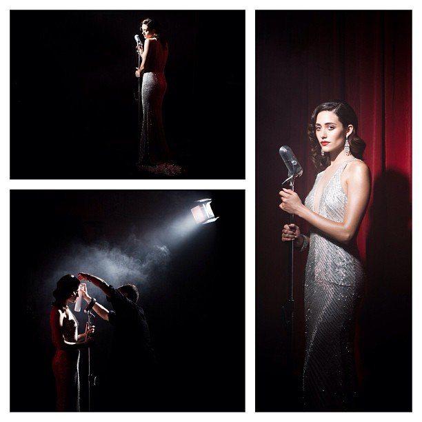 "Emmy Rossum posted backstage snaps from the video shoot for her first single, ""These Foolish Things.""  Source: Instagram user emmyrossum"