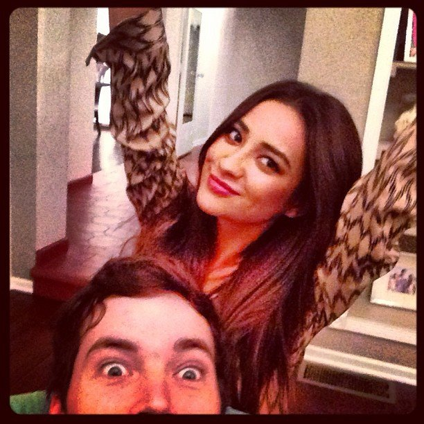 Pretty Little Liars costars Shay Mitchell and Ian Harding posed for a picture together.  Source: Instagram user shaym