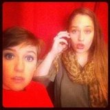 Lena Dunham and Jemima Kirke posed in a photo booth. Source: Twitter user lenadunham