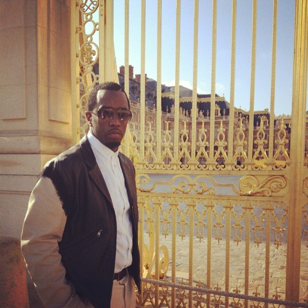 Diddy posed outside Versailles. Source: Twitter user iamdiddy
