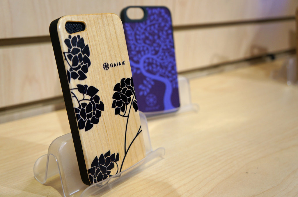 Wood and fabric iPhone cases from Gaiam.