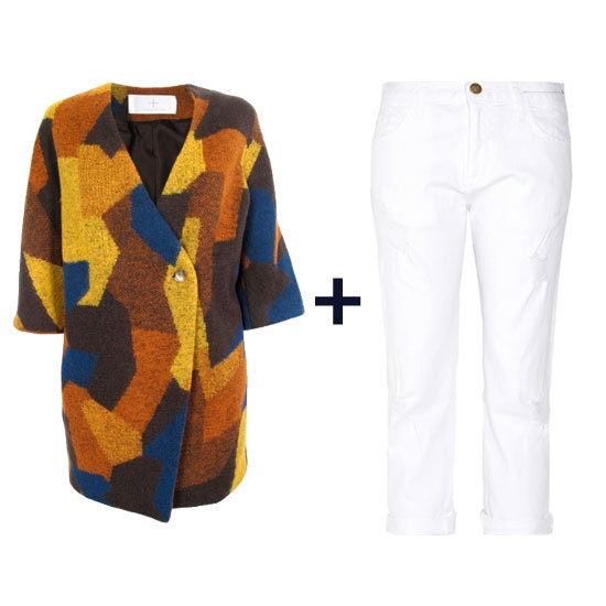 Here's proof that you can wear white jeans in the Winter. Style them up with a cozy printed coat and a pair of bordeaux mid-calf boots for a stunning cold-weather getup. Get the look: Thakoon Addition Printed Cocoon Coat ($294, originally $490) Current/Elliott The Boyfriend Distressed Jeans ($194)