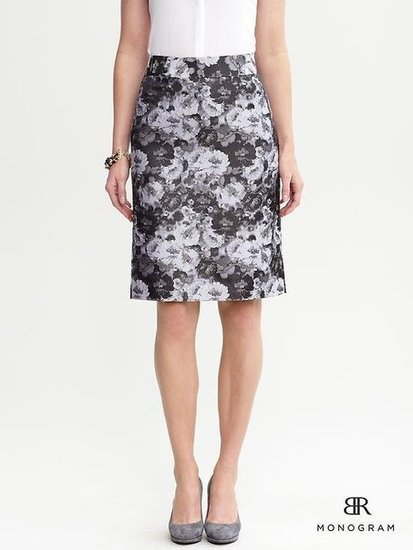Not too bright, and far from boring, this Banana Republic floral jacquard pencil skirt ($98) is a gorgeous choice for pairing with collar tops and blazers.