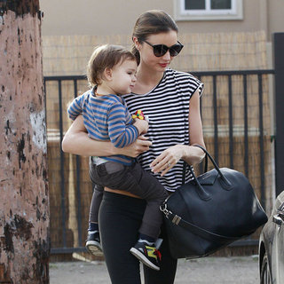 Miranda Kerr Wearing Striped Tee With Sneakers