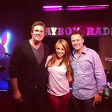 The Bachelor buddies Bob Guiney and Chris Harrison paid a visit to Playboy Radio host Jessica Hall.  Source: Twitter user chrisbharrison