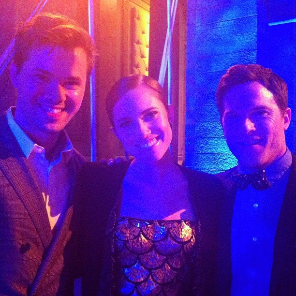 Gossip Girl's Zuzanna Szadkowski snapped this photo of actors Andrew Rannells, Allison Williams, and Mike Doyle at the Girls season two premiere party.  Source: Instagram user zuzannawanda