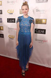 Amanda Seyfried wore an intricate blue gown.