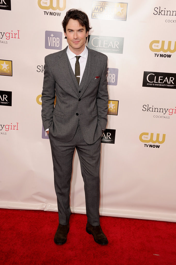 Ian Somerhalder wore a gray suit on the red carpet.