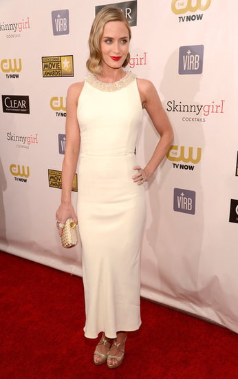 Emily Blunt wore a white dress to the Critics' Choice Awards.