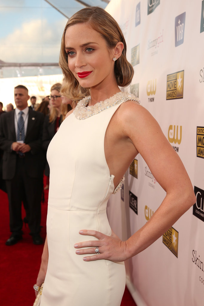 Emily Blunt wore a white Miu Miu dress to the Critics' Choice Awards.