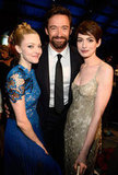 Amanda Seyfried, Hugh Jackman, and Anne Hathaway posed together during the Critics' Choice Awards.