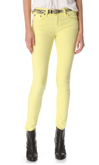 We're obsessed with the soft yellow color on these Rag & Bone skinny jeans ($176). You can wear them with anything from a denim button-down to a gray sweater to a leather top for a dressier vibe.