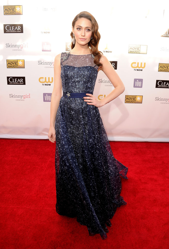 Emmy Rossum struck a celestial note with her navy blue Carolina Herrera Pre-Fall '13 gown, but what really caught our eye were the dress's crystal-encrusted star appliqué accents.